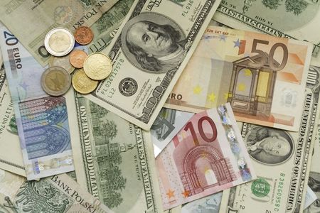 pricey: Euro and Dollars Stock Photo