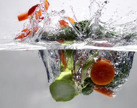 Broccoli and carrot in water