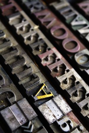Old typographical printing house. Movable type