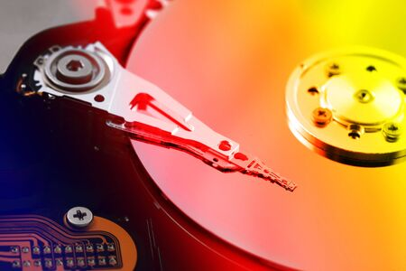 harddrive: A close up macro of an opened harddrive Stock Photo