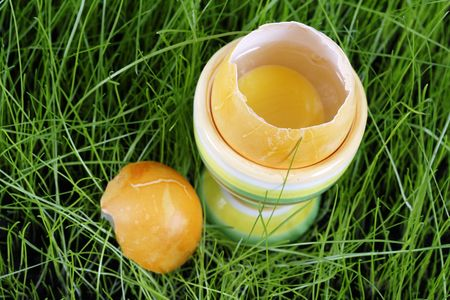 eggcup: Easter. Colorful easter egg and eggcup Stock Photo