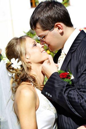Romantyczny ślub para. Photo sesji