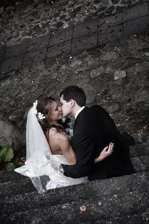 Romantic wedding couple. Photo session