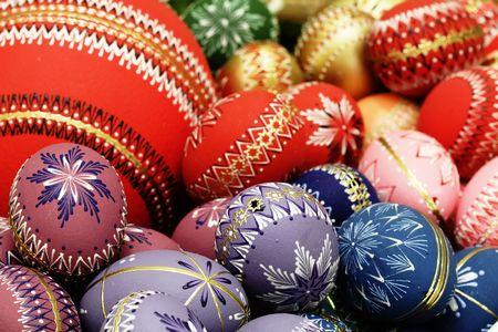 Kolorowe easter egg - ręcznie malowane Zdjęcie Seryjne