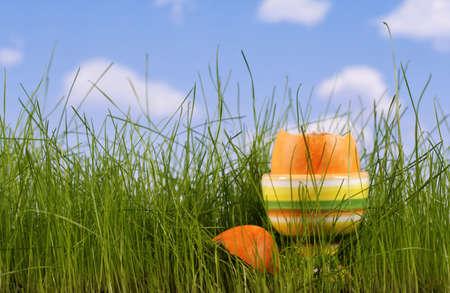 Pisanki w trawie na tle nieba