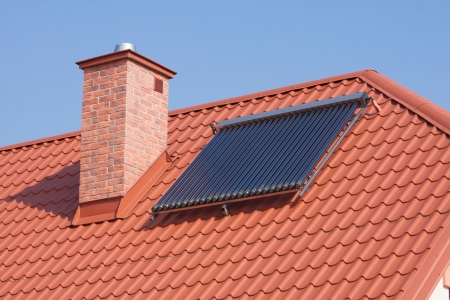 Renewable energy  Solar panels on the roof a private house