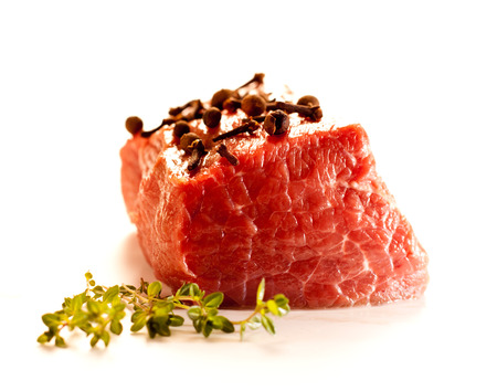 raw beef: Beef serving raw meat for dinner. Stock Photo