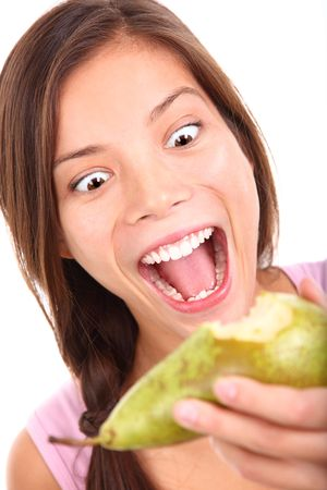 asian pear: Crazy woman craving a pear. Isolated on white background.