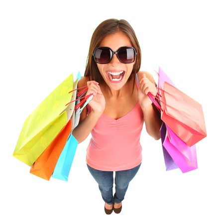 Excited shopping woman in fish eye view isolated on white background. Full length. Stock Photo