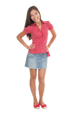 Summer girl in full length in red isolated on white background. Beautiful mixed race chinese  caucasian model.  photo