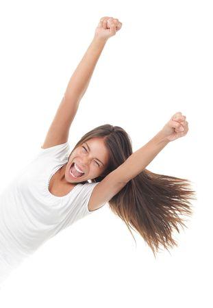 donna entusiasta: Donna di successo urlando di gioia che esce dal lato. Isolato su sfondo bianco.
