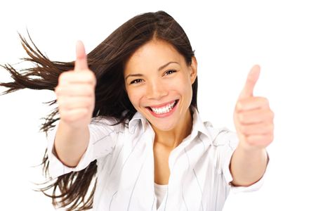 thumb's up: Happy young beautiful woman doing thumbs up. Mixed race asian  caucasian person, isolated on white background. Stock Photo