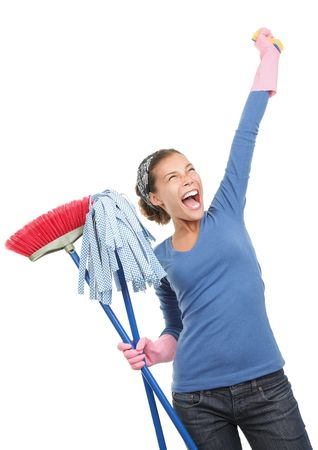 done: Woman done cleaning being very excited and happy. Beautiful mixed race asian  caucasian model isolated on white background.  Stock Photo