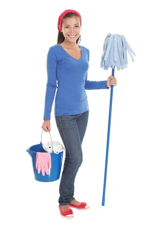 domestic: Cleaning woman happy and satisfied standing in full length with a mop on seamless white background. Beautiful mixed race chinese  caucasian model.