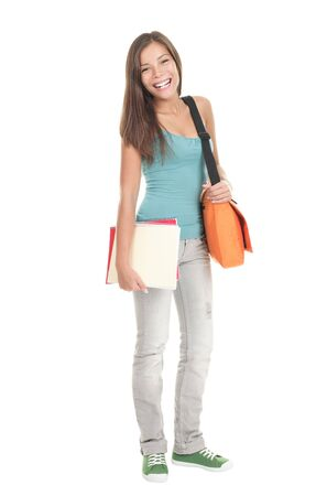Student. Isolated full body portrait of a beautiful young asian female student. Beautiful smiling mixed race caucasian  chinese young woman model.  photo