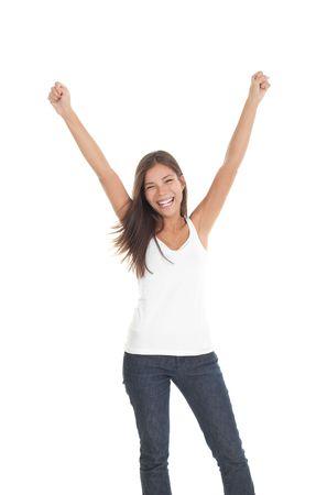 euphoric: Successo vincente giovane donna con le braccia fino. Isolato su sfondo bianco.