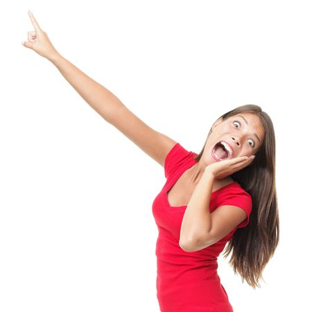 fear: Funny woman surprised screaming and pointing at copy space. Beautiful mixed race caucasian  chinese young woman model. Isolated on white background.