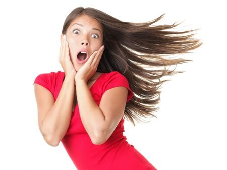 scared girl: Shocked woman portrait isolated on white. Stock Photo