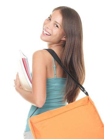 mujeres de espalda: Estudiante. Asia estudiante mirando hacia atr�s sobre su hombro. Aislados en blanco.
