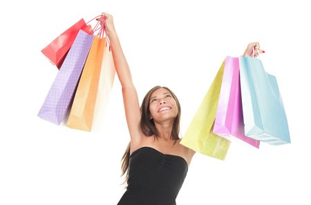 shopper: Shopping woman happy isolated on white.