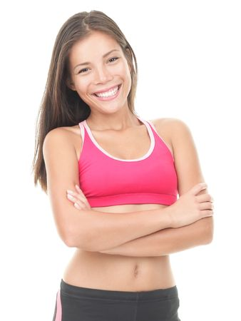 working out: Fitness woman  Beautiful Asian  Caucasian female model. Stock Photo