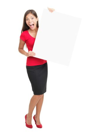 one sheet: Sign and woman excited. Isolated on white background. Full length image of young energetic multiracial Asian Caucasian woman holding blank sign