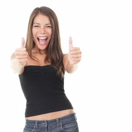 donna entusiasta: Donna di successo comparire0 pollici. Eccitato bella donna isolata su sfondo bianco. Mischlada modello asiatici Caucasica  Archivio Fotografico