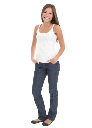 Beautiful young woman in her 20s standing in full body in casual wear isolated on white background . Mixed race Asian Caucasian girl.  Banque d'images