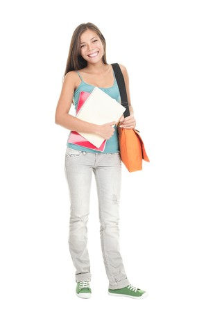 College Student girl. Isolated full length portrait of a beautiful young asian woman student. Beautiful smiling mixed race caucasian  chinese young woman model. Isolated on white background