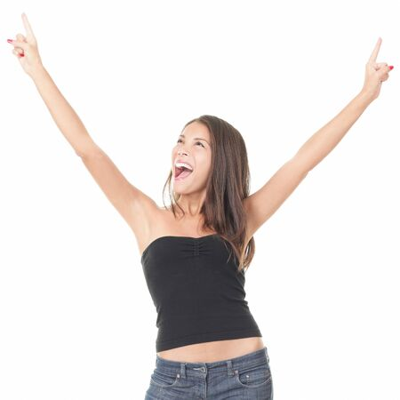 Asian woman screaming excited and elated of joy isolated on white background.
