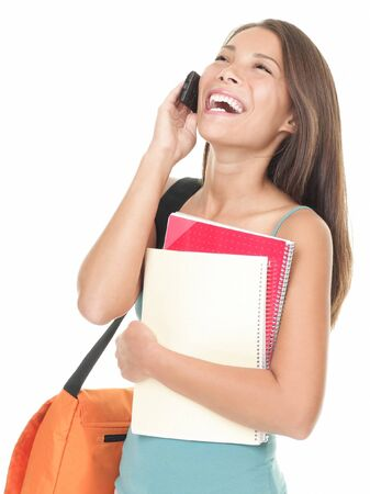 students talking: Woman university student talking on the phone. Asian  caucasian female model isolated on white background.