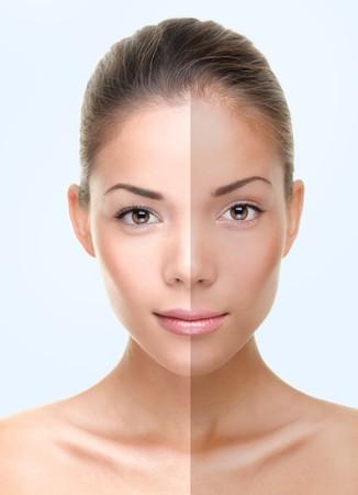 suntanned: Woman face with half tan skin. Beautiful asian caucasian woman portrait on blue background.