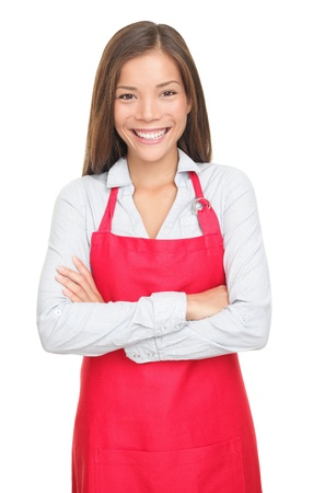 tezgâhtar: Sales clerk or small shop owner isolated on white background. Smiling young woman. Stok Fotoğraf