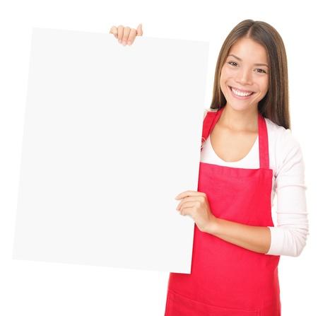 vendedores: Signo de empleado de ventas que muestra en blanco