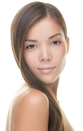 woman face close up: Beauty portrait of young woman brunette isolated on white background. Asian  Caucasian model.