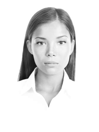 Black and white portrait of multiracial woman. White background. Stock Photo - 8361981