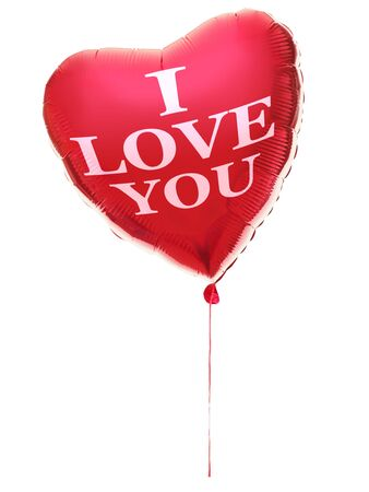 love image: Heart balloon for valentines day with text: I love you. Red heart isolated on white background.