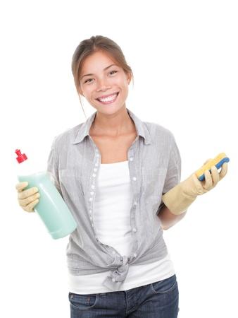 ama de casa: Ama de casa feliz limpieza platos aislados sobre fondo blanco.