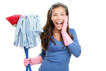 House cleaning woman happy and surprised. Isolated on white background.