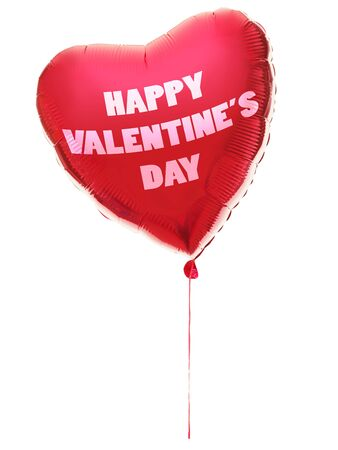 valentines day balloon heart shaped with text: happy valentines day. Red heart Isolated on white background. photo