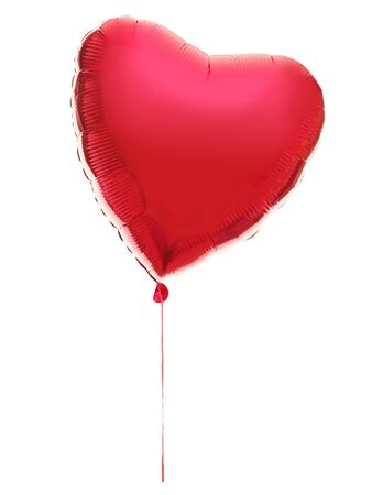 Balloon in heart shape. Red heart balloon in a string isolated on white background. photo