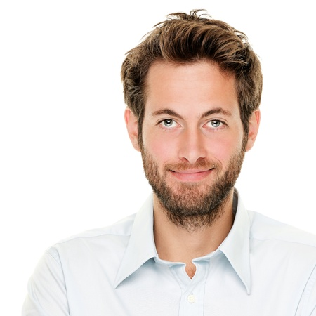 masculine: Portrait of handsome young man isolated on white background. Caucasian man with beard smiling. Stock Photo