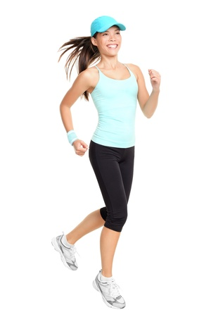 Running fitness woman isolated on white background. Mixed race Asian Caucasian female fitness model. Stock Photo