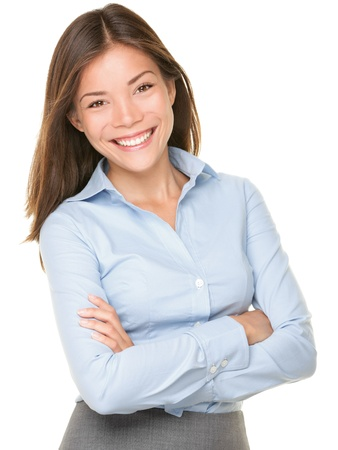business woman: Smiling Asian Caucasian Business Woman. Businesswoman in blue shirt smiling looking at camera. Beautiful young mixed race woman professional isolated on white background.