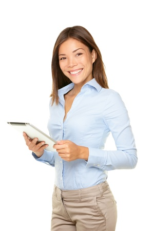 Business woman holding tablet PC with touchpad. young mixed race Asian Caucasian woman professional isolated on white background.