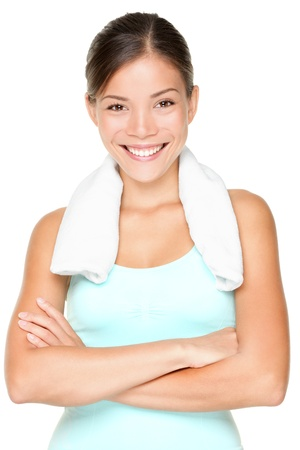 woman in towel: Fitness woman portrait isolated on white background. Smiling happy female fitness model looking at camera. Fresh beautiful multi-racial Caucasian Asian fitness girl.