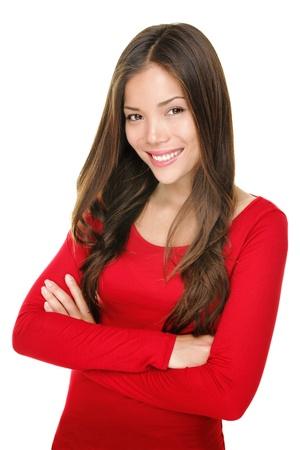 mujer sola: Retrato sonriente mujer hermosa. Multiracial mixta chino asi�tico  blanco modelo femenino del C�ucaso aislada sobre fondo blanco.