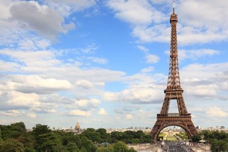 Eiffel Tower - Paris travel icon. Day with vlue sky. photo