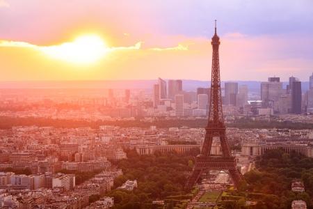 paris night: Eiffel Tower, Paris at sunset. Beautiful colors.
