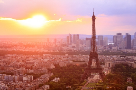 Eiffel Tower, Paris at sunset. Beautiful colors.